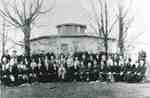 Family gathering in front of the Pickett Octagonal House, now 6103 Guelph Line, celebrating the  60th Diamond Anniversary of William and  Barbara Pickett, 1933