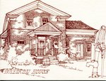 "Drawing of ""Pine Hall"", built in 1848 for William Van Norman, 955 Century Drive, ca 1975"