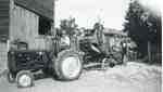 Gordon Sherwood with Ford tractor and George White threshing machine, 1953