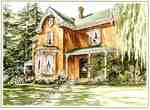 Heslop House, 5387 Upper Middle Road, water colour by Laurel Campbell, 1990