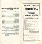 Appleby Sunday School Centennial brochure, front and back pages, 1939