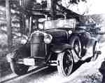 Model A Ford, 1929, in front of the Filman house and drive shed, Townsend Avenue, Aldershot, ca 1930