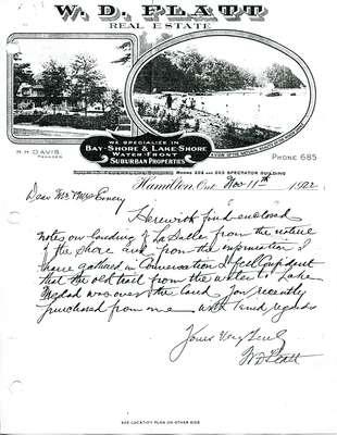 Letter from W. D.Flatt about La Salle's landing, 1922