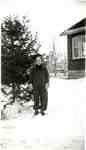 Betty Woodley in the snow, outside the house on Balmoral Avenue, ca 1939