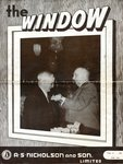 """The Window"", front cover, February 1954: Teddy Bright receiving his 25-year Club Pin from A. S. Nicholson on December 21, 1953"