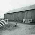 Sherwood bank barn with Rex posing, 1967