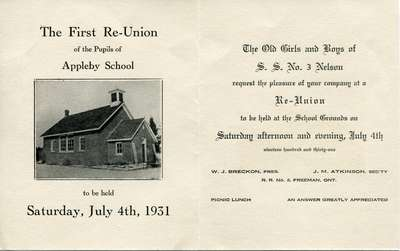 Appleby School, S. S. No. 3 Nelson, Reunion invitation, 1931