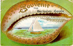 Souvenir from Burlington, Canada -- illustration of shell with painted sailboat; postmarked May 27, 1909