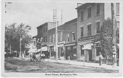 Brant Street, Burlington, Ont. -- view of Royal Bank with large awning; postmarked June 27, 1914