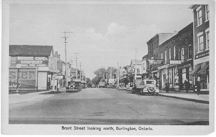 Brant Street looking north, Burlington, Ontario -- side view of Paradise Cafe