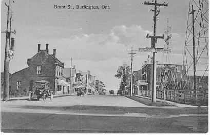 Brant St., Burlington, Ont. -- view of Railway Crossing