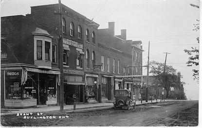 Brant St., Burlington Ont. -- view of  John P. Taylor Drugs & Ontario Department of Agriculture; postmarked November 29, 1918