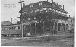 Queen's Hotel, Burlington, Ont. -- view of Hotel and streetcar; postmarked May 10, 1913
