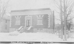 New Public Library, Burlington -- Exterior with snow; postmarkeddated March 28, 1907 (?)