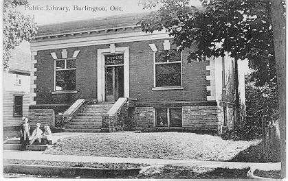 Public Library, Burlington, Ont. -- Exterior with 3 children on steps; postmarked July 10, 1913