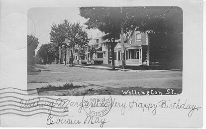Wellington St. -- small picture with hand-written caption; postmarked October 17, 1906