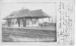 G.T.R. Station, Burlington -- Exterior, with hand-written caption; dated 1907