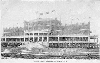 Hotel Brant, Burlington Beach, Ont -- Exterior; postmarked June 27, 1905