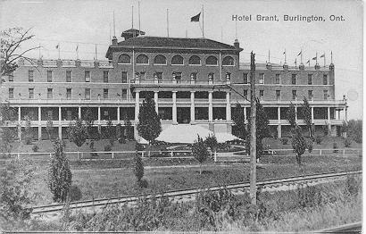 Hotel Brant, Burlington, Ont. -- Exterior; postmarked February 20, 1908