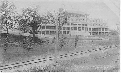 Hotel Brant, Burlington, Ont -- Exterior, viewed from beyond railway tracks; postmarked August 1, 1906