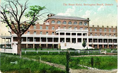 Hotel Brant, Burlington Beach, Ontario -- Exterior, large tree at west end; postmarked June 8, 19??