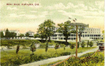 Hotel Brant, Burlington, Ont -- Exterior with extensive grounds, and train on right-hand side; postmarked July 3, 1907