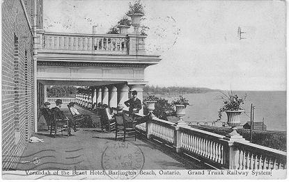 Verandah of the Brant Hotel, Burlington Beach, Ontario. Grand Trunk Railway System -- Exterior; postmarked August 16, 1912