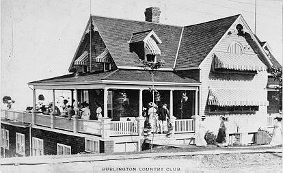 Burlington Country Club -- Exterior, rear entrance and verandah; postmarked February 2, 1912