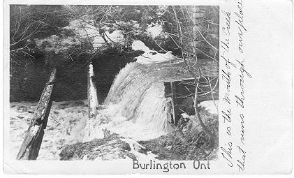 Hager Ave. Creek [Waterfall] -- hand-written caption; postmarked March 25, 1907