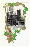 Methodist Church, Burlington, Ont., -- Exterior: small picture with maple leaf border; postmarked July 15, 1906