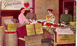 Biggs Fruit -- Painting of 4 women at fruit stand; postmarked December 5, 1909