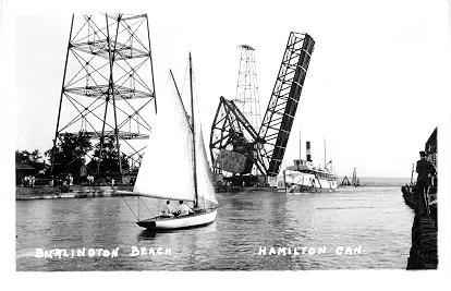 Burlington Beach. Hamiton Can. -- Sailboat and lifted bridge