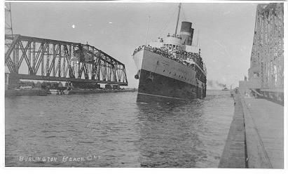 Burlington Beach, Ont -- Cruise Ship entering harbour
