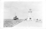 Burlington Beach -- lighthouse & approaching ship; postmarked July 19, 1927