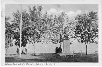 Lakeside Park and War Memorial, Burlington, Ontario; postmarked July 27, 1949