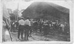 First Burlington Contingent of Volunteers, about to leave the old drill shed on Water St.; dated 1914