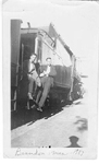 Art Brame and friend (Harold?) on the train, Brandon, Manitoba, July 1923
