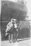 Art Brame and Garfield Walker at the train station, Brandon, Manitoba,  1923