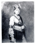 Portrait of Joseph Brant, Thayendanegea, mezzotint after George Romney, 1776