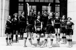 Junior Girls' Basketball team on the front steps of Burlington High School, 1931
