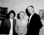 Burlington Historical Society President Florence Meares (centre) with Margaret Lansdale and Bob Lansdale, 1987