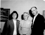 Burlington Historical Society  President Florence Meares with Margaret and Bob Lansdale, 1987