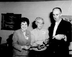 Burlington Historical Society  President  Florence Meares with Mary Wright and Bob Lansdale, 1987