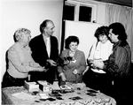Burlington Historical Society President Florence Meares with Bob Lansdale, Mary Wright and 2 unidentified persons, 1987