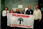 Burlington Historical SocietyVolunteer Appreciation Night, April 1995:  Ruth Borthwick, Bonnie Nordby, Florence Meares, Jean Galloway, Len Nordby and Mac Pearston