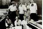 Ten unidentified women employees, W.T. Glover Basket Factory, Freeman, ca 1915
