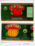 Can labels for Tip Top Choice Quality Tomatoes and Tip Top Pumpkin, produced at HyslopSons cannery, Freeman, ca 1930