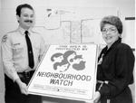 Neighbourhood Watch Programme: Constable Joe Taylor with co-ordinator Adrienne Gwozdz, 1988