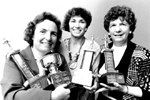 Wellington Square Club  (formerly Toastmistresses): Mavis Brown, Justine Giuliani and Mary Ellen Chliboyko, with trophies for public speaking, 1986