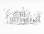 Robson House, originally the Davis - Burt house, on the northwest corner of Brant and Caroline Streets, drawing by Gery Puley, 1978